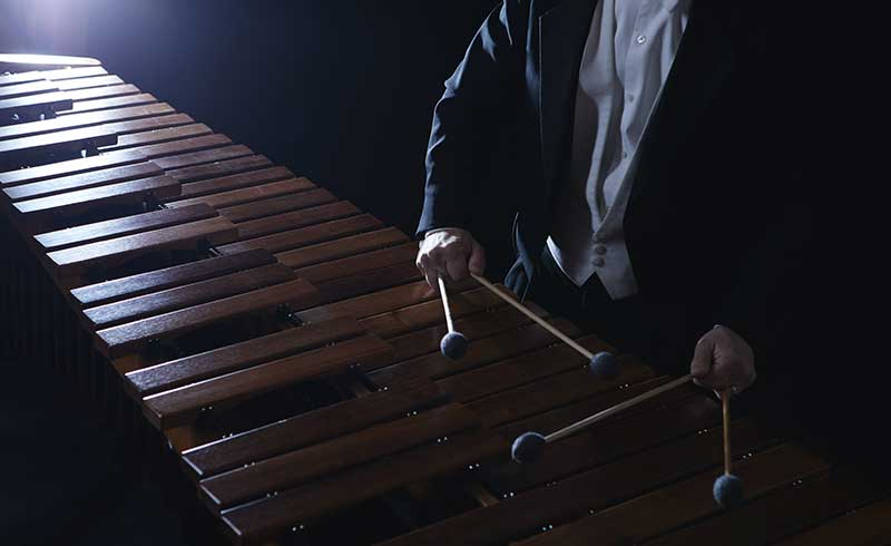Person playing percussion instrument.
