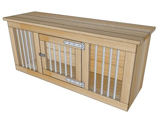 Houten Honden Bench met 1 deur met spijlen 160 x 80 x 80