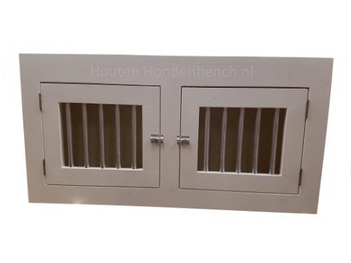 Houten Honden Bench meubel in kleur wit en 2 deuren met spijlen