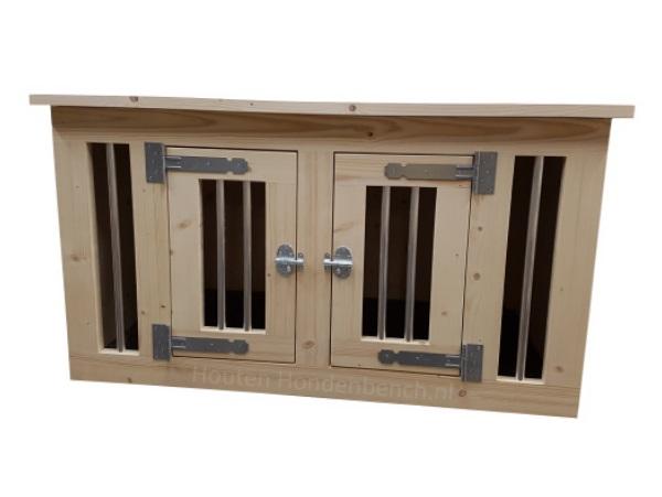 Hondenbench 2 deurs Large in blank hout en met blank beslag