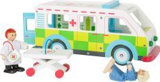 Houten speelgoed ziekenwagen