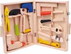 Houten speelgoed koffer