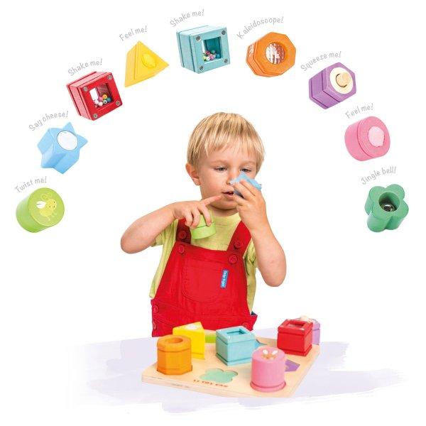 Houten sensorische blokken geluid en voelen