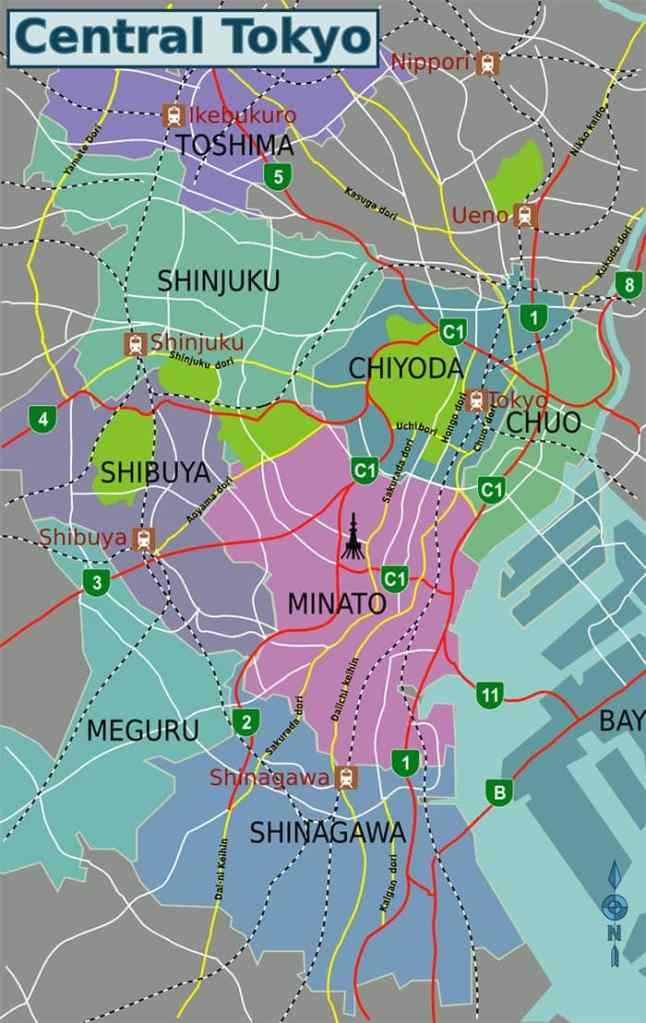 Los distritos centrales de la ciudad de Tokio: mapas y principales puntos de interes