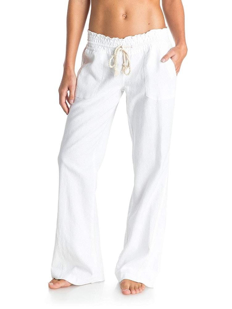 Los mejores pantalones para ir a la playa: Roxy Oceanside Non-Denim Pants, Mujer, Blanco
