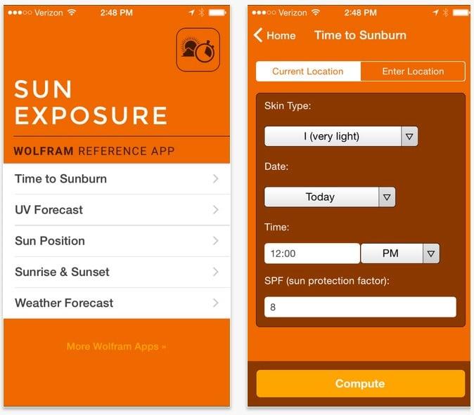 Wolfram Sun Exposure Reference App