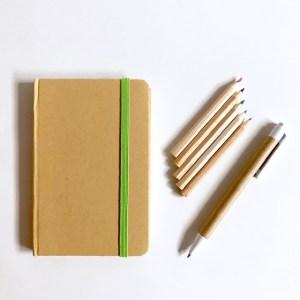 bij het elke dagboekje krijg je een pen en kleurpotloodjes