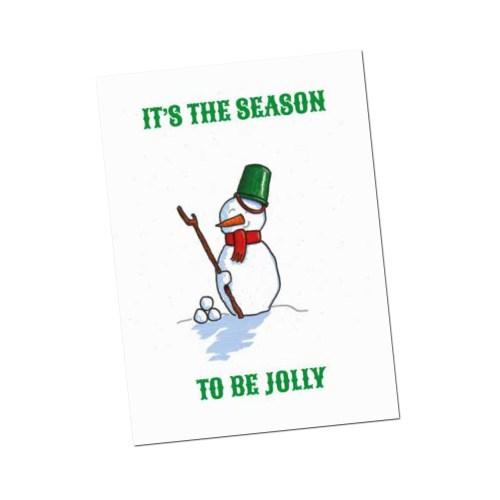 kerstkaart its the season met vrolijke sneeuwpop