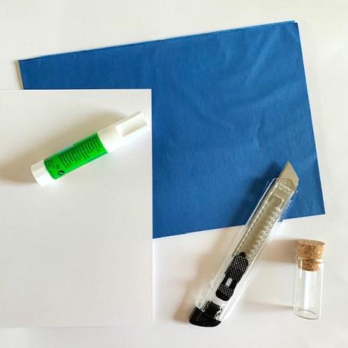 marine blauw zijdepapier om woonaccessoires mee te maken