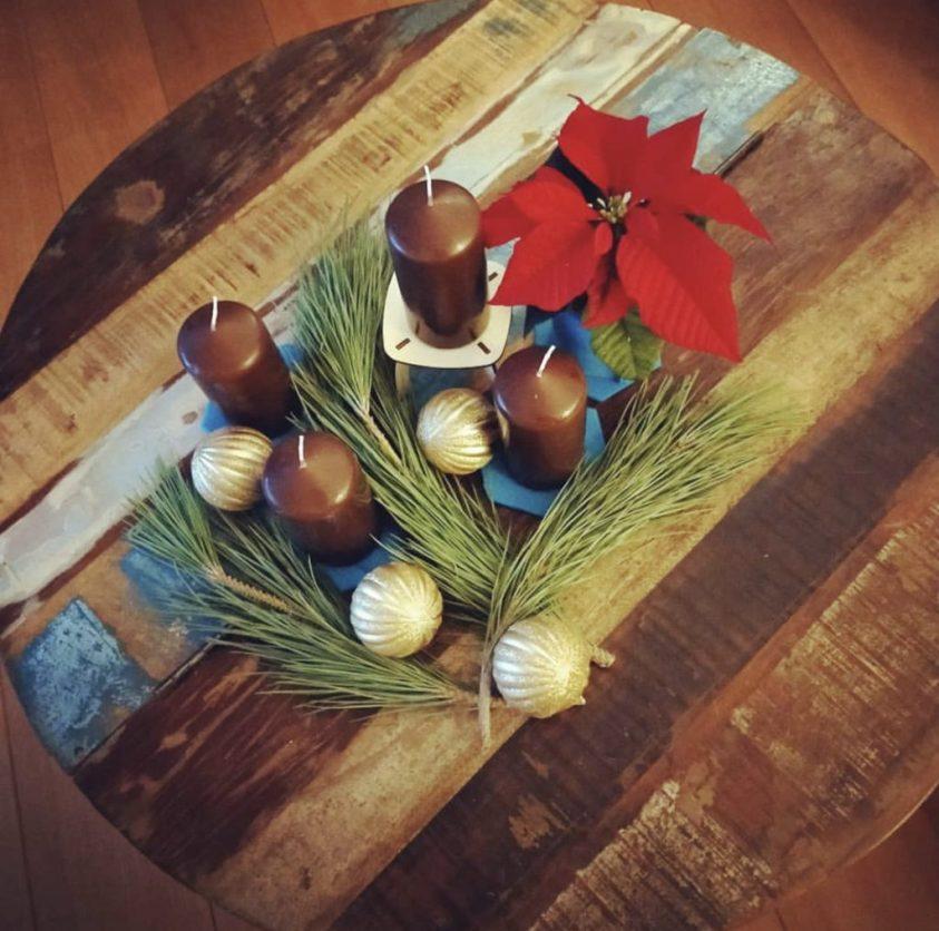 kerststukje in Houtmoed stijl
