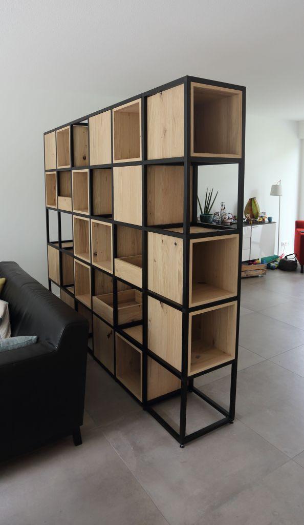 Room divider in eiken fineer in metalen frame in Enschede 2