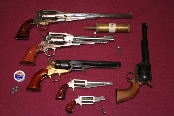A selection of modern percussion revolvers from .22 to .44-caliber was available to illustrate a reasonable range of guns.