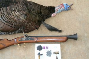 Sportsmans Guide blunderbuss with GA turkey and loading components.