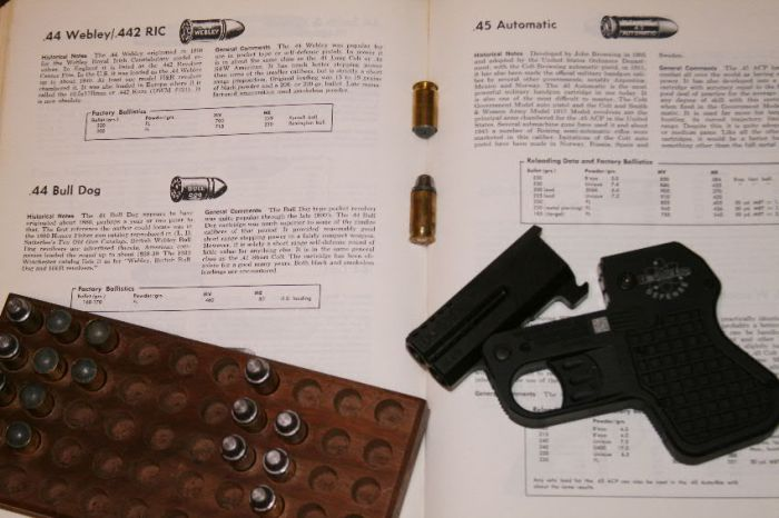 Initial shooting was to develop loads similar to the large caliber Bull Dog revolver loads of the late 1800s.  Shown are round ball and 200 grain cast bullet loads.