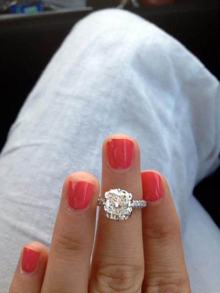 3 carat colorless, flawless, cushion cut center stone, 3 sided mico pave diamond