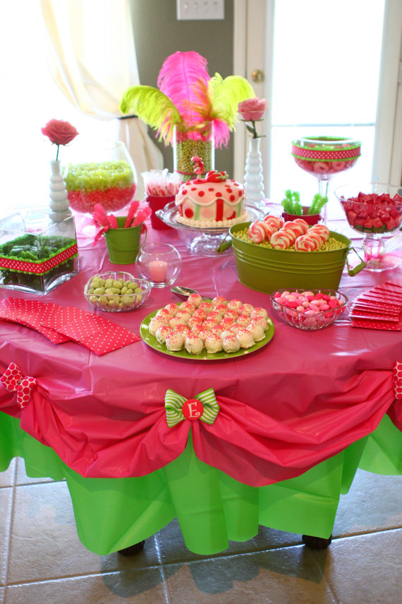 Layer plastic tablecloths… they look special, but are still disposable… Love