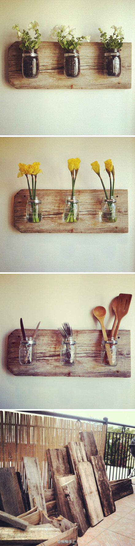 Awesome way to recycle wood and mason jars!