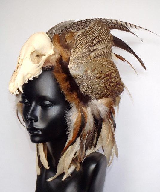 Animal Skull Feather Headress