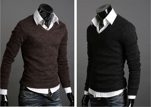 Ohoo Mens Slim Fit Light Weight V-Neck Pullover Sweater