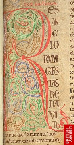 Decorated initial 'R'(es) at the beginning of William of Malmesbury'