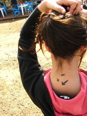 Neck Bird Tattoos