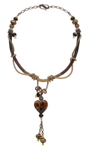 Single-Strand Necklace with Viking Knit Wire, Lampworked Glass Beads and Metal B
