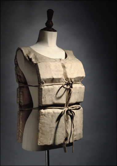 Life preserver worn by Titanic survivor Laura Mabel Francatelli on the night the