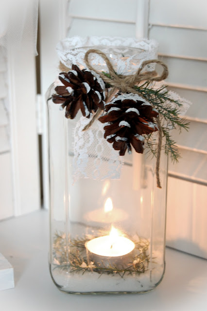 jar decorated for christmas