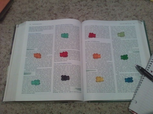 """When taking notes for classes, do this. When you reach a gummybear, eat i"