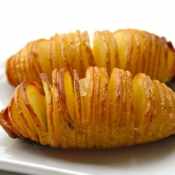 Sliced baked potatoes: thinly slice almost all the way through. drizzle, olive o