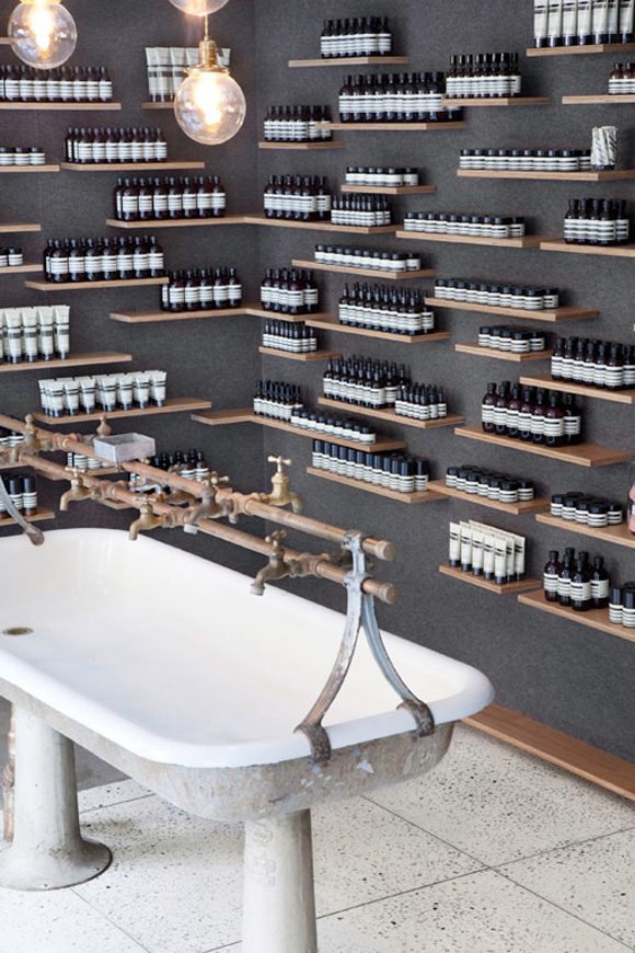 1900s style trough sink at Aesop