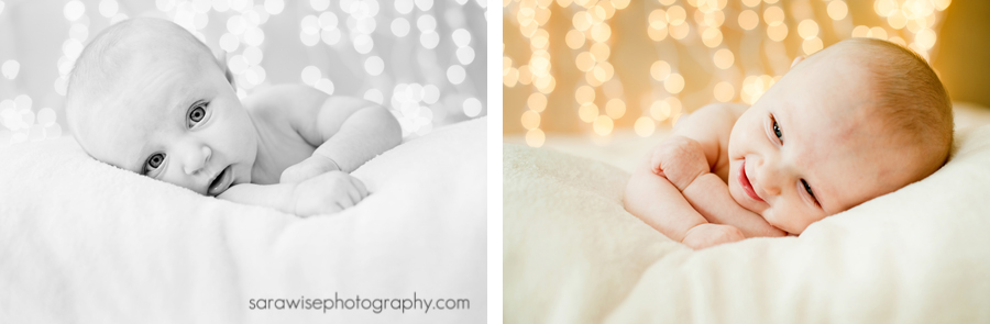 Newborn with Christmas lights