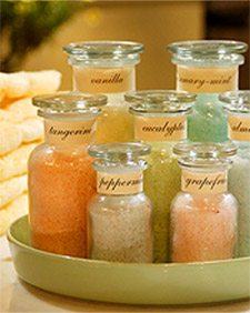 Homemade bath salts:  In a large bowl, mix to combine: 6 parts coarse sea salt;