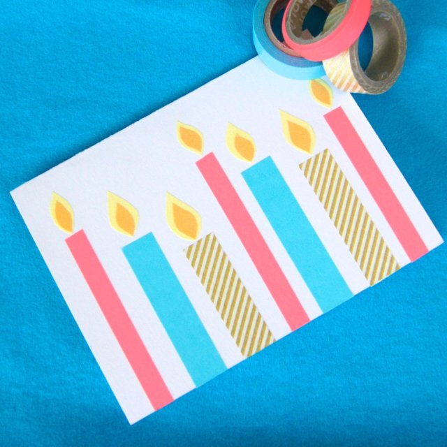 Fun washi tape homemade birthday cards!  Super cute and easy to make!
