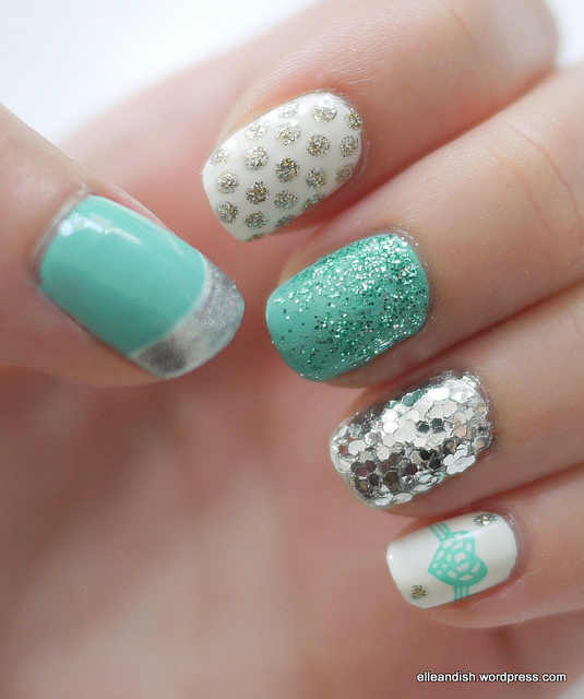 Tiffany Blue nails with Silver and White (China Glaze For Audrey..with a little