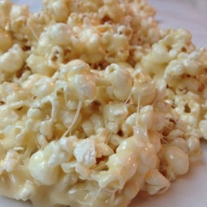Butter, brown sugar and marshmallows….pour over popcorn….MELT in your MOUTH