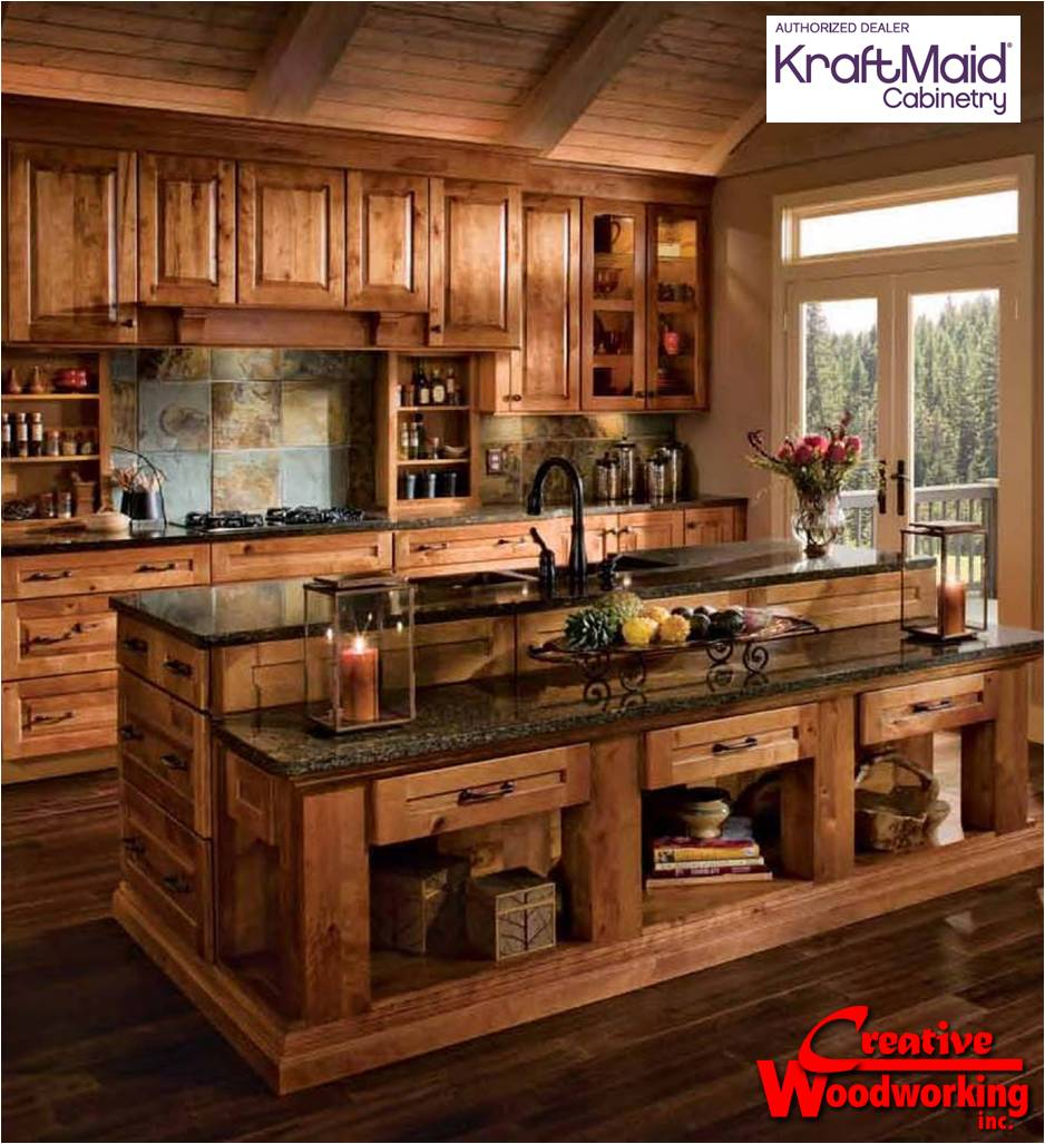 rustic kitchen cabinets. Love this