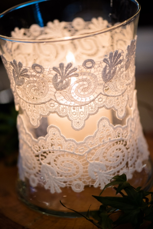 lace jars reception decorations