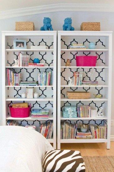 Bookshelves with wallpapered backs