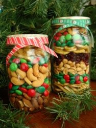 Treat Jars bu Bus Bee Kids Crafts  Using a canning jar layer a cup each of sever