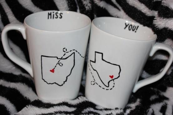 Long distance BFF coffee mugs.
