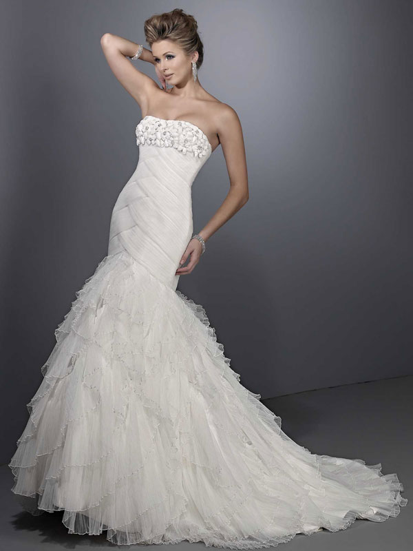 Trumpet / mermaid net sleeveless bridal gown,allure wedding dresses