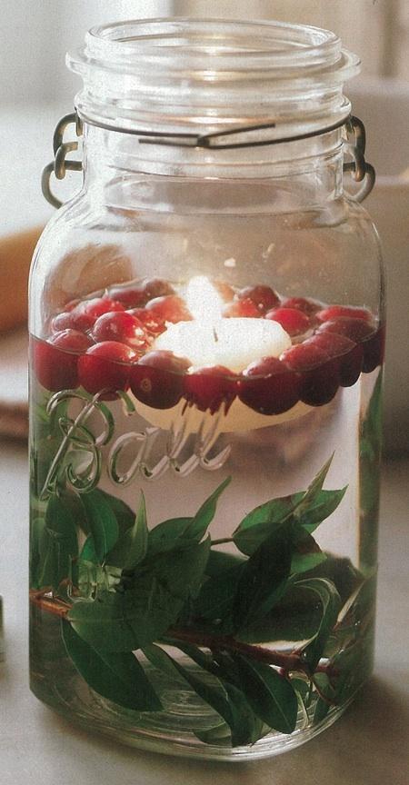 Cranberry mason jar decoration.