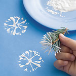 For Make Our Own Wrapping Day – Snowflake Stamping with Pine Needles