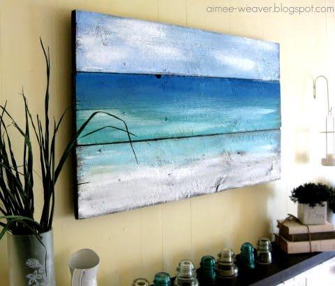 #DIY painted old wood ocean art