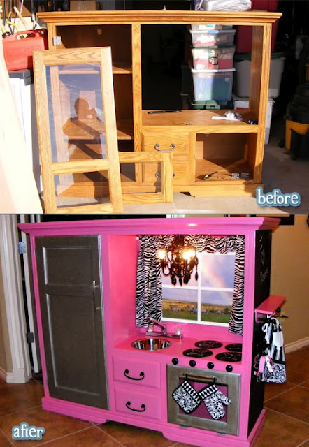 Turn an old entertainment center into a play kitchen | We ...