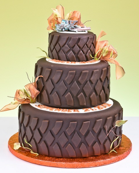 Tire Cake. Awesome cake for a construction, cars, or monster truck party!!