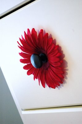 I LOVE this idea !!!!!! Add silk flowers behind the knob. Cute for a little girl
