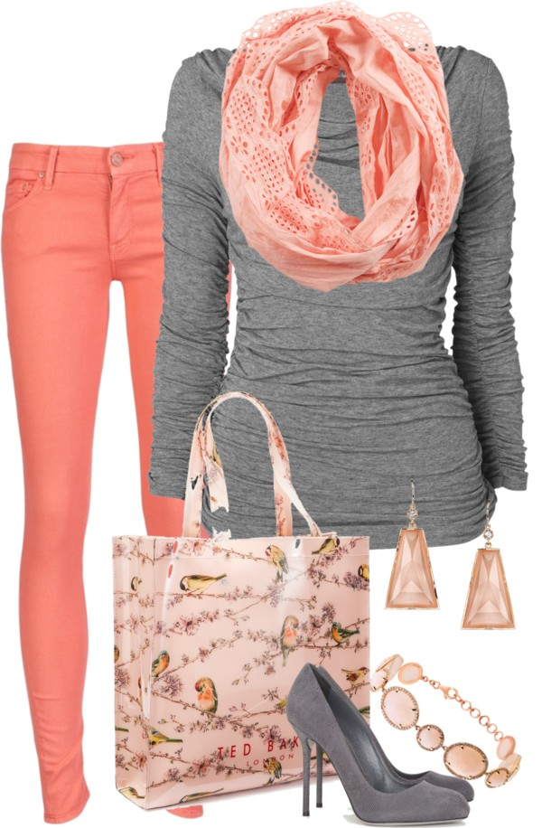 Coral and grey….with maybe some grey flats