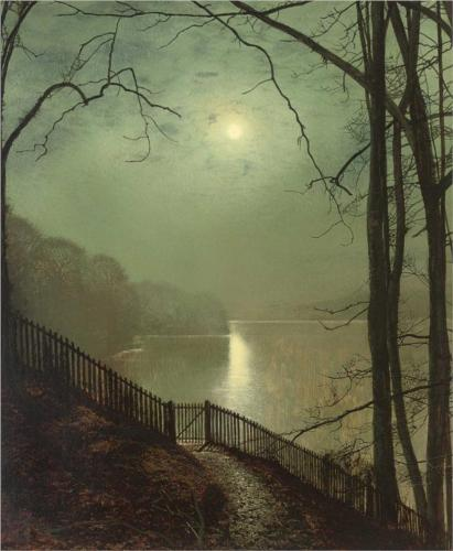 Moonlight on the lake Roundhay Park Leeds – John Atkinson Grimshaw